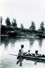 Rudolf Höss and his children rowing on the Sola River, near Auschwitz.
