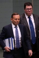 MP George Christenen arriving at Question Time on Thursday behind the PM.