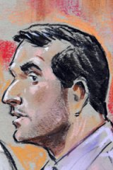 Sabirhan Hasanoff... a court sketch of the accused Australian.