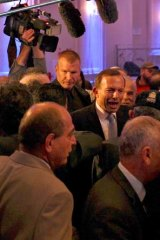 Working the crowd: Tony Abbott.