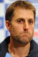 Simon Katich grimaces while lashing out at the selectors and Cricket Australia after the contentious loss of his Test contract during a press conference in June, 2011.