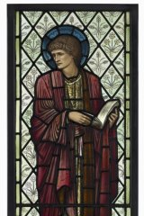 A stained glass window of St Paul manufactured by Morris & Co for the Chapel of Cheadle Royal Hospital, circa 1875.