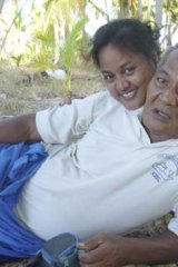 Activist Maria Tiimon and her father.