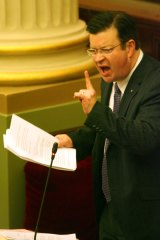 Liberal MP Bernie Finn fires up in Parliament.
