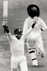 Momentous day ... Brian Lara celebrates his first Test century at the SCG in 1993.