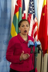 Susan Rice ... US Ambassador to the UN speaks to reporters after a meeting in the Security Council on Syria.