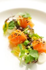 Citrus and vodka-cured salmon from Ezard.
