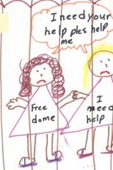Cry for help: Another drawing by a child in detention.