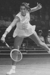 Judy Dalton (Tegart) makes a return during a women's singles match at Wimbledon in 1968.