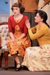 Elizabeth Nabben (left) as Julia Simmons and Libby Munro as Phillipa Haymes in A Murder is Announced.