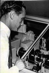 Arthur Midgely, chief technician of the speaking clock, in 1960.