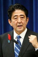 Anger: Japanese Prime Minister Shinzo Abe.