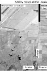 A satellite image that purports to show self-propelled artillery only found in Russian military units, on the Russian side of the border, oriented towards Ukraine.