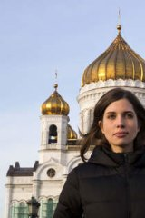 Nadezhda Tolokonnikova of Russian punk group Pussy Riot after she was freed from prison in December 2013.