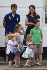 Domestic bliss … the royal couple with their children, Christian, 7, Isabella, 6, and two-year-old twins Vincent and Josephine in July.
