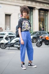 Avoid luxury labels … a model wears an Iron Maiden T-shirt at Paris Fashion Week Haute Couture.