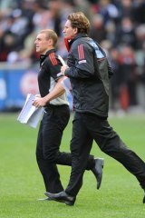 Testing times: Essendon assistant coach Simon Goodwin (left) and coach James Hird have been questioned by ASADA.