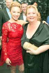 Kylie Minogue with Magda Szubanski at the Mardi Gras VIP party last week.