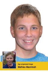 Mathieu-Pierre Macintosh, who was last seen by his father in September 2013, abducted by his mother who is believed to be in France or Belgium. He was last seen by his father when he was nine. An aged-progressed photograph shows what he would look like now at 13.