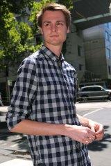 Daniel Dobson leaves Melbourne Magistrates Court on Thursday.