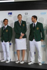 Dashing ... Olympians at the launch of the ''back to the future'' uniforms.