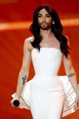 I'm back: Last year's winner Conchita Wurst performs <i>Rise Like a Phoenix</i> during the first semi-final.