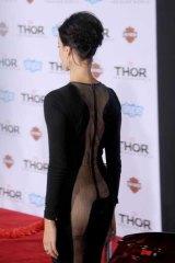 The back of Jaimie Alexander's dress.