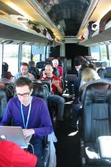 "Inside one of the buses. <i>Photo: <a href=""https://picasaweb.google.com/imrehg/StartupBusTrip#5582421813648622402"">Gergely Imreh</a></i>"