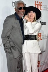 On solid ground: Morgan Freeman with Diane Keaton at the festival.