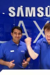 Samsung's store reps get into the launch spirit.