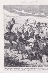 The Myall Creek Massacre, as portrayed by an English illustrator forty years after the event.