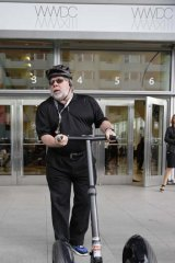 Apple co-founder Steve Wozniak arrives at WWDC on his Segway.