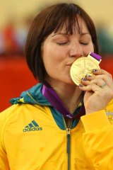Success is sweet ... Gold medallist Anna Meares on Day 11.