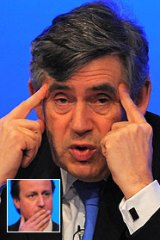 Prime Minister Gordon Brown and Tory leader David Cameron (inset).