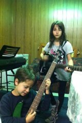 Young talent time … son Gabriel jamming with his cousin Sophia, who's said to look like the young Tina.