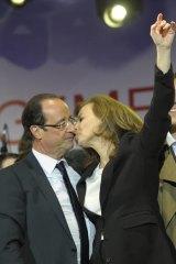 Francois Hollande with Valerie Trierweiler.