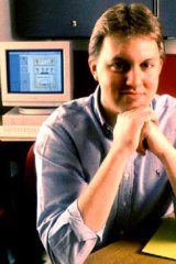 Netscape's Marc Andreessen in his office that contains a 1990s PC when the web was in its infancy.