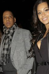 Singers Jay-Z and Beyonce.