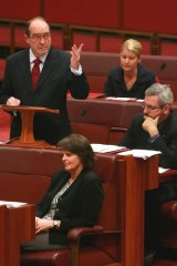 Outgoing Democrats Senator Andrew Murray makes his valedictory speech as Senators Natasha Stott Despoja, Andrew Bartlett and Lyn Allison listen.