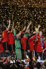Hard act to follow: Spain's victorious 2010 squad.