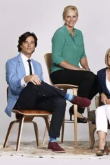 <em>House Rules</em> presenter Johanna Griggs (center) with judges Joe Snell and Wendy Moore.