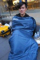 Myles Jihem in his sleeping bag.