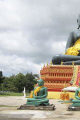 "False idol: The fake ""emerald Buddha"" statue at Wirapol's monastery in north-east Thailand."