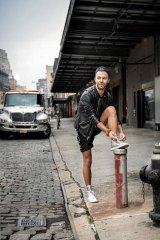 Getting traction … Noffs in a pair of his sustainably produced, Australian-made sneakers.