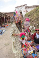 Fabric of life: Franks on her travels, in Peru.