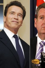 Following in Arnie's footsteps ... Barry O'Farrell proposes examining the recall election option that helped Arnold Schwarzenegger become governor in 2003.