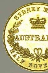 An 1857 half-sovereign