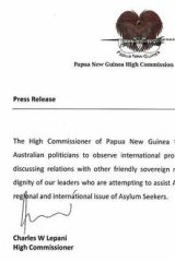 "PNG High Commissioner Charles Lepani's letter urging Australian politicians to ""observe international protocols and courtesies"" when discussing leaders of other nations."