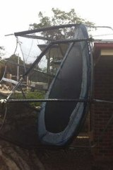 A trampoline comes to rest in Hawkesbury Heights.