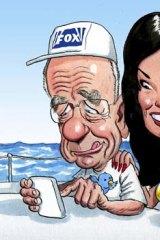 All over ... Rupert Murdoch and Wendi Deng. <i>Illustration: John Shakespeare</i>